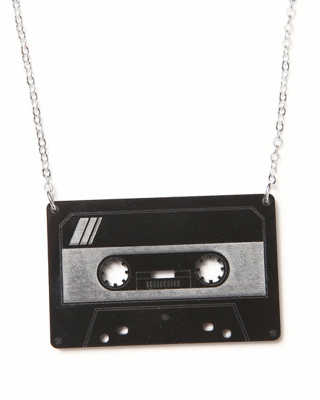 Djp Outlet Women Plastique Cassette Necklace Black
