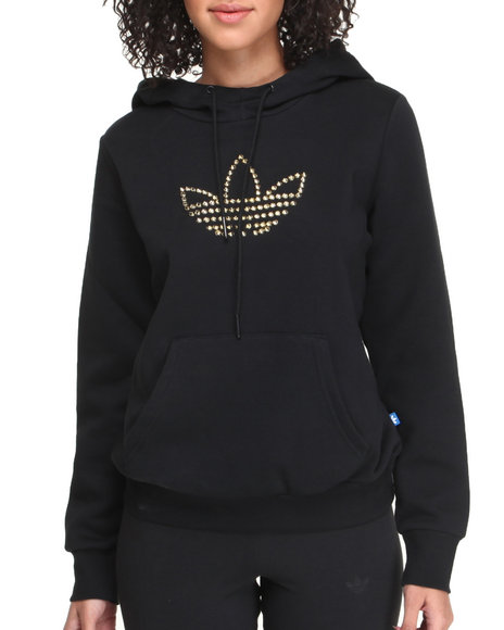Adidas Black Studs Trefoil Logo Pullover Hoodie