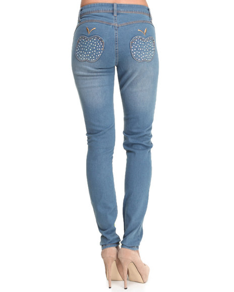 Apple Bottoms - Women Medium Wash Bling Apple Pocket Skinny Jean