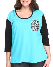 Women - Leopard Pocket Jersey Chiffon Top (Plus)
