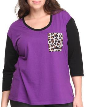 Rocawear - Leopard Pocket Jersey Chiffon Top (Plus)