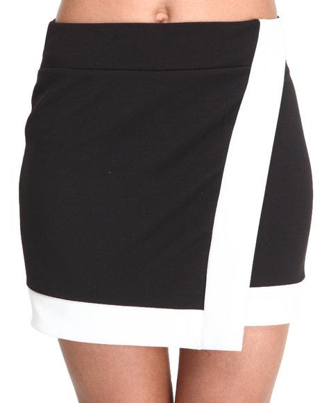 Fashion Lab - Women Black Lyric Envelope Crossover Skirt W/Colorblock