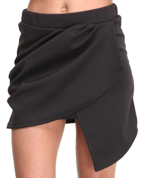 Basic Essentials - Women Black Bianca Sold Wrap Skirt