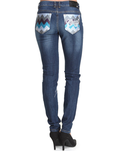COOGI Dark Wash Coogi Skinny Jeans W/ Chevron Print Back Pockets