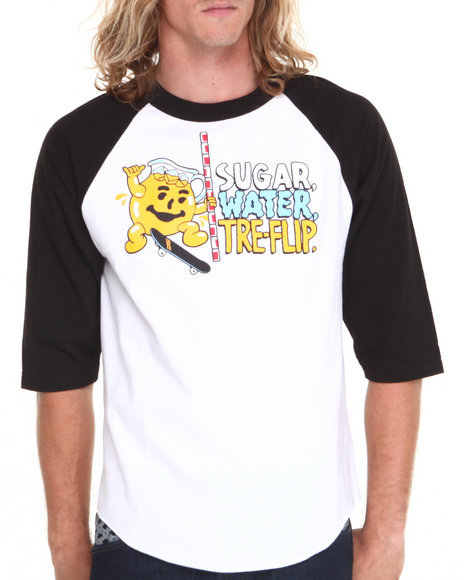 Skate Mental Black,White Sugar Water Tre Flip Raglan Tee