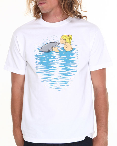 Skate Mental White Girl Kissing Dolphin Tee