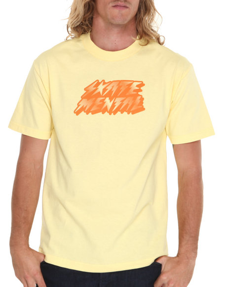 Skate Mental - Men Yellow Bolts Shine Tee