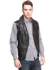 Men - Leather Moto Vest