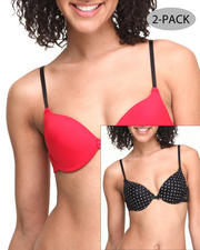 Women - Dot Printed Lace/Solid 2-Pk Bra's