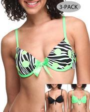 Women - Zebra Dots Printed Solid 3-Pk Bra's
