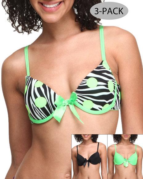 Drj Lingerie Shoppe - Women Neon Green Zebra Dots Printed Solid 3-Pk Bra's