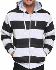 Hoodies - Faux Fur Striped full zip hoodie