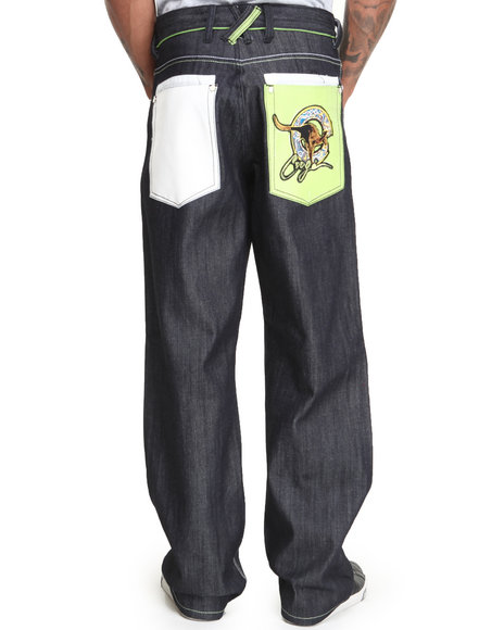 Coogi - Men Raw Wash Coogi Kangaroo Embroidered Denim Jeans