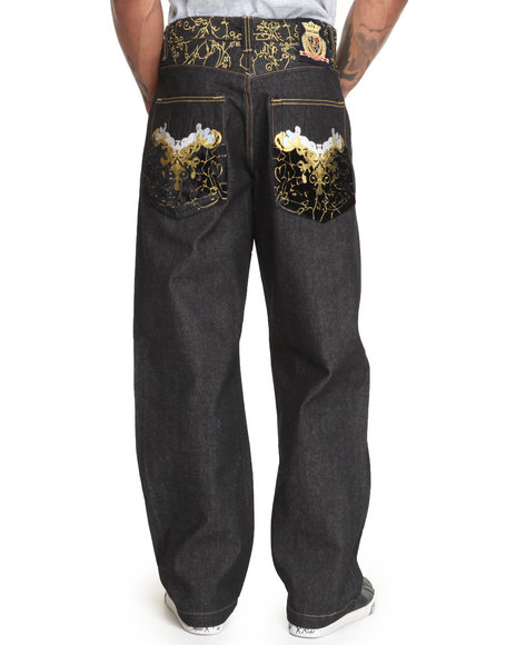 Crown Holder Black C H Velvet Back Pocket Denim Jeans