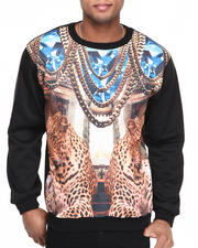 Basic Essentials - Diamond Cheetah Chains Sublimation Crewneck Sweatshirt