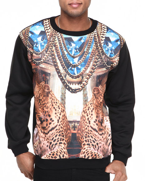 Basic Essentials - Men Black Diamond Cheetah Chains Sublimation Crewneck Sweatshirt
