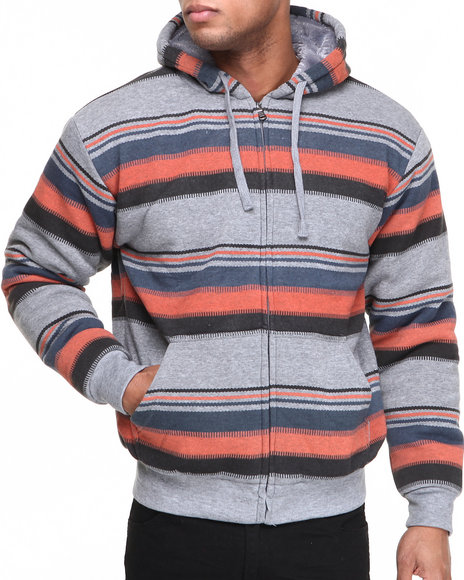 Buyers Picks - Men Multi Faux Fur Aztec Print Full Zip Hoodie