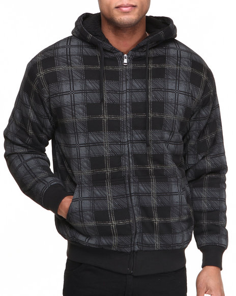 Buyers Picks - Men Black Sherpa Lined Plaid Full Zip Hoodie