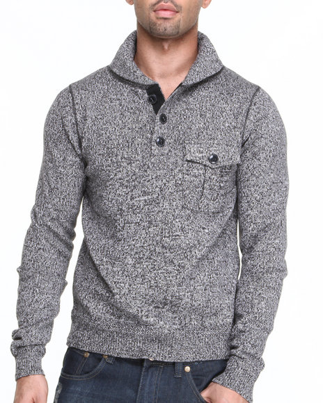 Cockpit Usa - Men Grey Pullover Shawl Kneck Premium Sweater