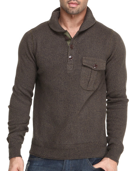 Cockpit USA Olive Pullover Shawl Kneck Premium Sweater