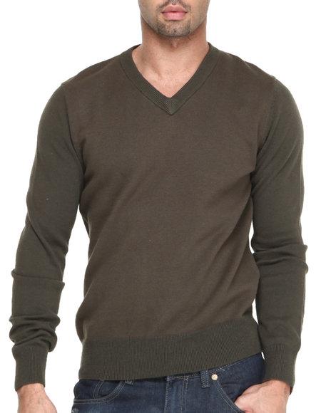 Cockpit Usa - Men Olive Birdseye V-Neck  Premium Sweater - $35.99