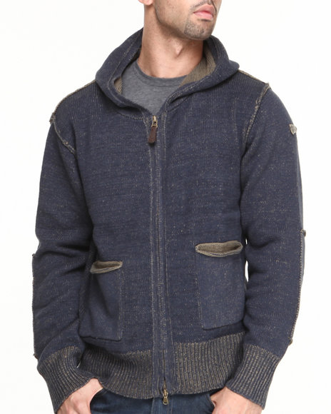 Cockpit Usa - Men Olive Elite Premium Knit Hooded Sweater