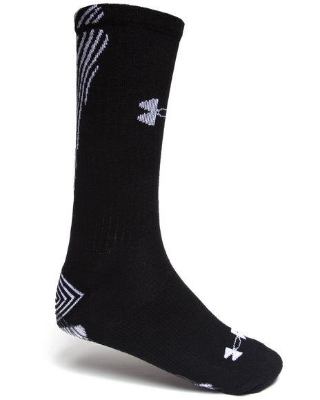 Under Armour Men All Sport Slide Crew Socks (Armour Grip Bottom) Black Large