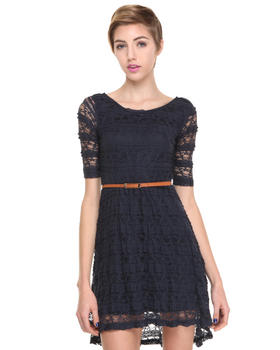 DJP Boutique - Belted Lace Scoop Neck Dress