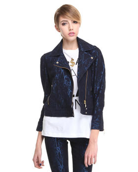 Jackets & Coats - Metallic Filigree Moto Jacket