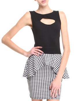 Apple Bottoms - S/L Houndstooth Peplum Dress