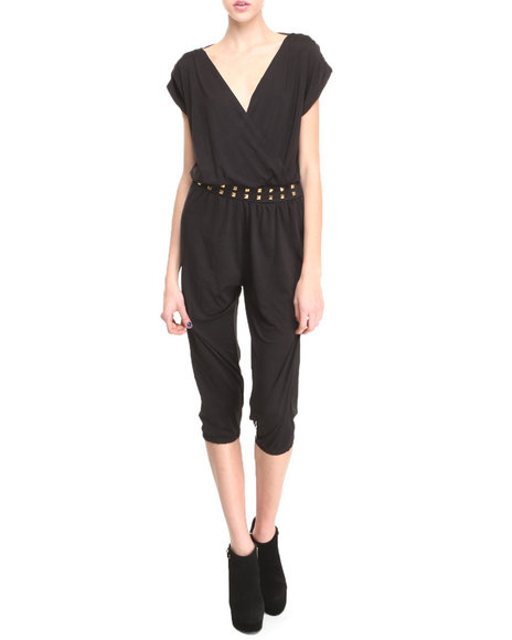 Apple Bottoms - Women Black Studded Waistline Hotness Jumpsuit