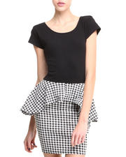 Women - S/S Houndstooth Peplum Dress