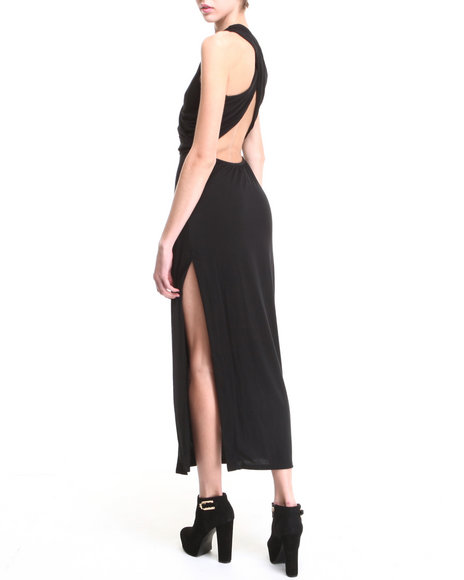 Fashion Lab - Women Black Braided Front Maxi Dress W/ Criss Cross Back - $11.99