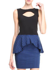 Women - S/L Houndstooth Peplum Dress