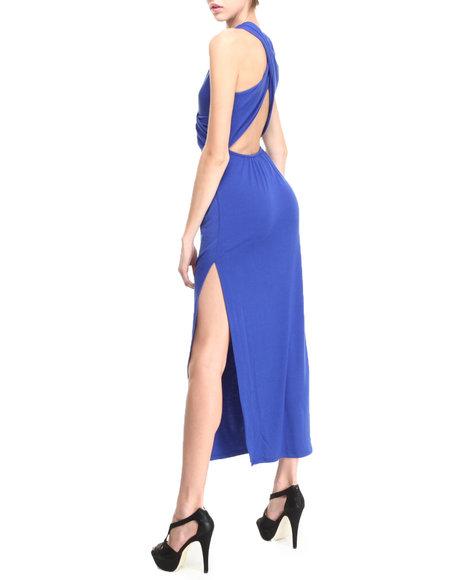 Fashion Lab - Women Blue Braided Front Maxi Dress W/ Criss Cross Back