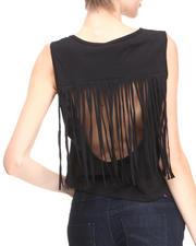 Fashion Lab - Cropped Tank w/ Peek-A-Boo Back w/ Fringe Overlay