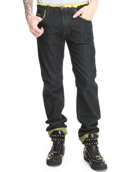 Versace Jeans - Raw Regular Fit Jean w/ Lime Roll-up Detail
