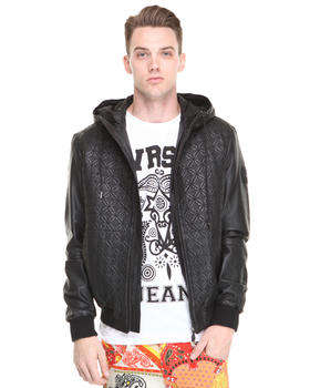 Versace Jeans - Leather Zip Hoodie w/Stitching Detail