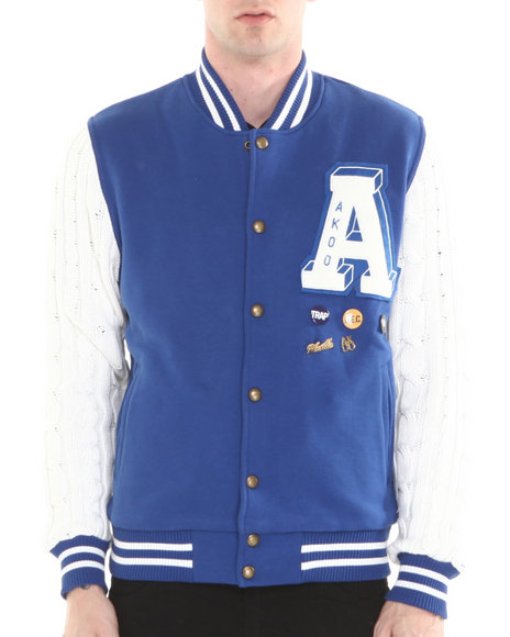 AKOO Blue Cable Varsity Jacket
