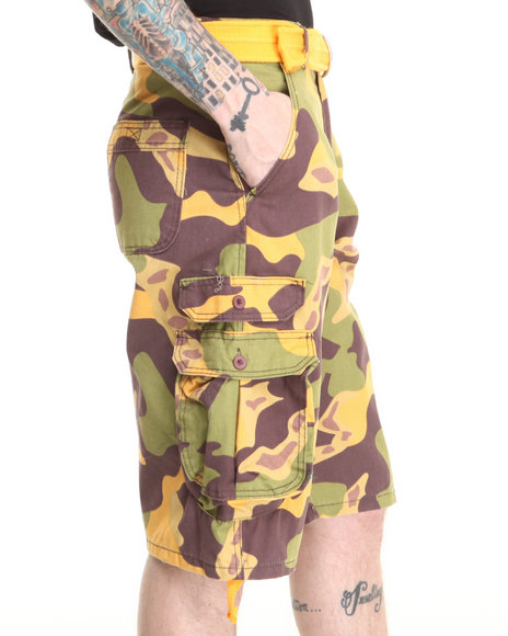 Basic Essentials - Men Camo Twill Camo Cargo Belted Shorts