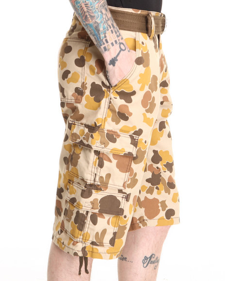 Basic Essentials - Men Tan Ape Desert Camo Cargo Shorts