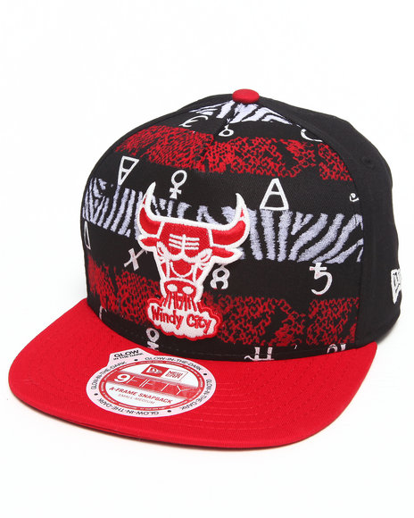 New Era Black Chicago Bulls Nola Print'd A-Frame Snapback Hat
