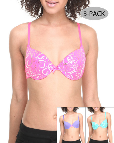 Drj Lingerie Shoppe - Women Multi Foil Hearts Kissable 3-Pack Bras