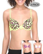 Women - Neon Leopard Solid 3-Pack Bras