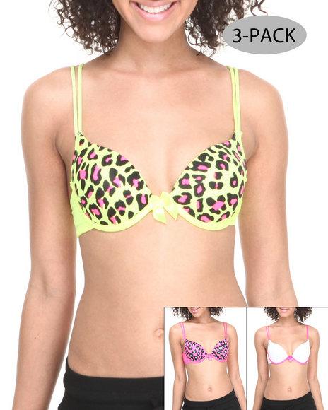 Drj Lingerie Shoppe - Women Multi Neon Leopard Solid 3-Pack Bras