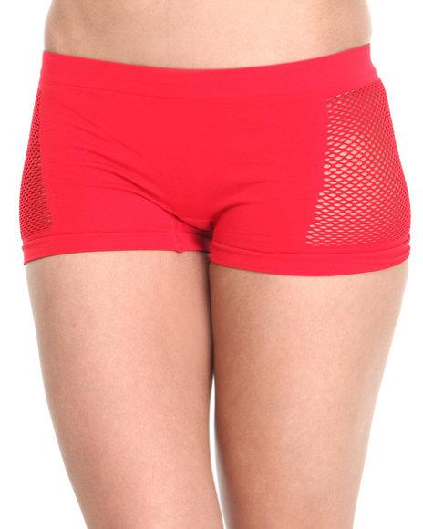 Drj Lingerie Shoppe - Women Red Small Mesh Sides Seamless Short