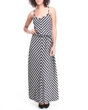 Fashion Lab - Mindy Chevron Striped Blouson Maxi Dress