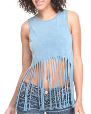 Women - Rivera Acid Wash Cropped Tank w/ Long Fringed Bottom
