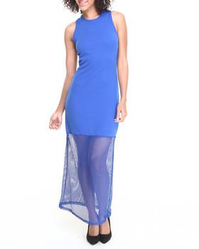 Fashion Lab - Center Stage Mesh Back Maxi Dress w/ Mesh Bottom