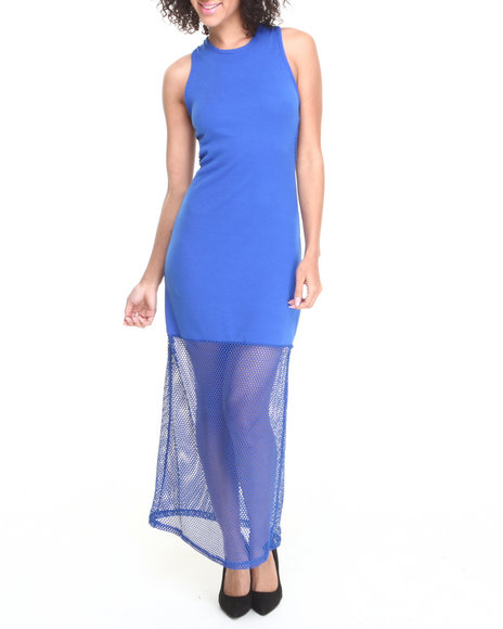 Fashion Lab - Women Blue Center Stage Mesh Back Maxi Dress W/ Mesh Bottom